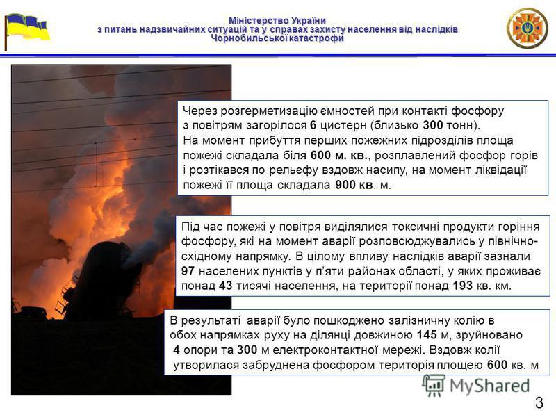 Міністерство України з питань надзвичайних ситуацій та у справах захисту населення від наслідків Чорнобильської катастрофи Через розгерметизацію ємностей при контакті фосфору з повітрям загорілося 6 цистерн (близько 300 тонн). На момент прибуття перш