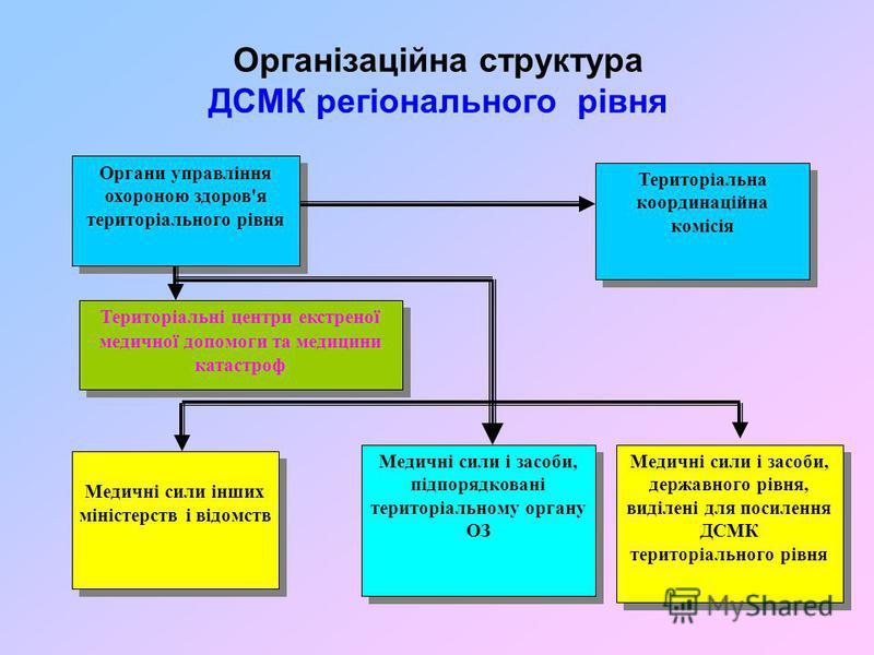 Організаційна структура ДСМК регіонального рівня Органи управління охороною здоров'я територіального рівня Органи управління охороною здоров'я територіального рівня Територіальна координаційна комісія Територіальна координаційна комісія Територіальні