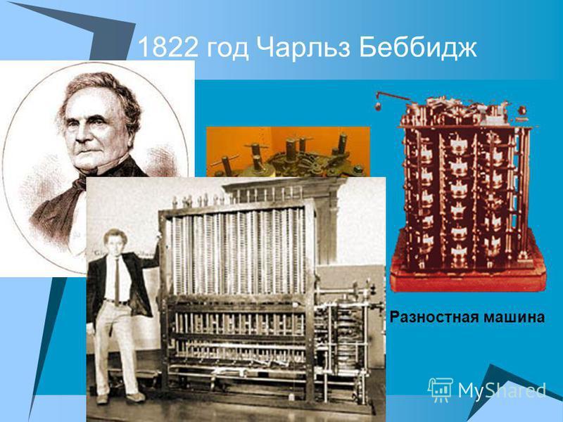 1822 год Чарльз Беббидж Разностная машина