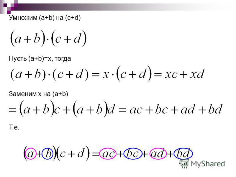 Умножим (a+b) на (c+d) Пусть (a+b)=x, тогда Заменим x на (a+b) Т.е.