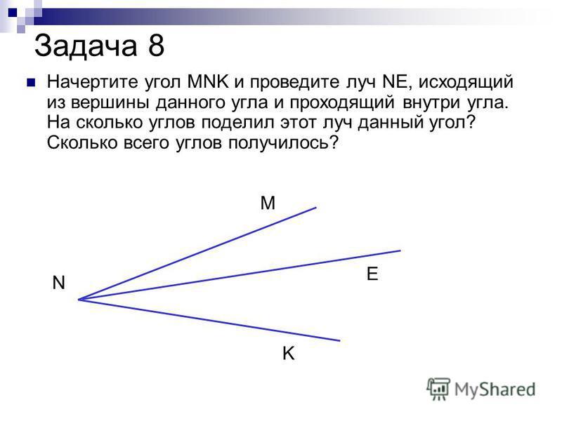 Задача 8 Начертите угол MNK и проведите луч NE, исходящий из вершины данного угла и проходящий внутри угла. На сколько углов поделил этот луч данный угол? Сколько всего углов получилось? M N K E