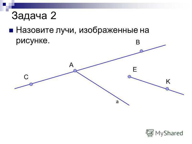 Задача 2 Назовите лучи, изображенные на рисунке. а А C B E K