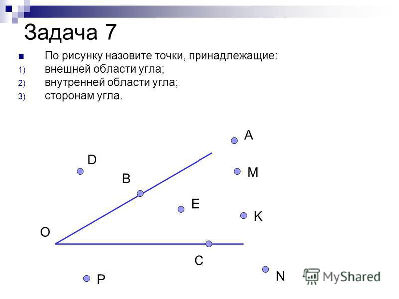 Задача 7 По рисунку назовите точки, принадлежащие: 1) внешней области угла; 2) внутренней области угла; 3) сторонам угла. О D B P C N E K M A