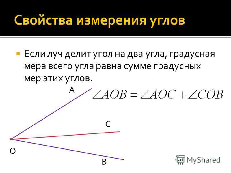 Если луч делит угол на два угла, градусная мера всего угла равна сумме градусных мер этих углов. О А С В