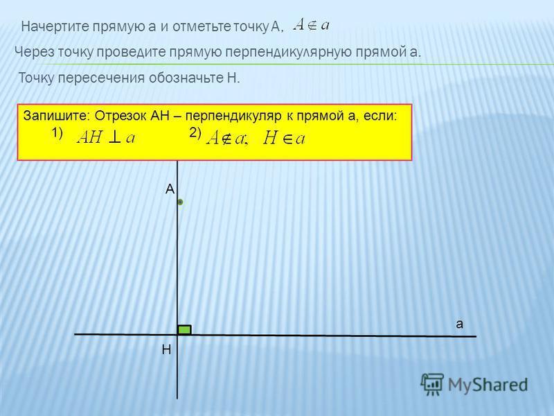 Начертите прямую а и отметьте точку А, а Через точку проведите прямую перпендикулярную прямой а. А Н Точку пересечения обозначьте Н. Запишите: Отрезок АН – перпендикуляр к прямой а, если: 1) 2)