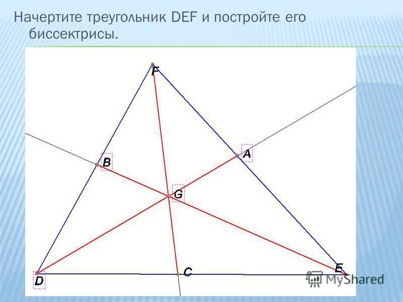 Начертите треугольник DEF и постройте его биссектрисы.