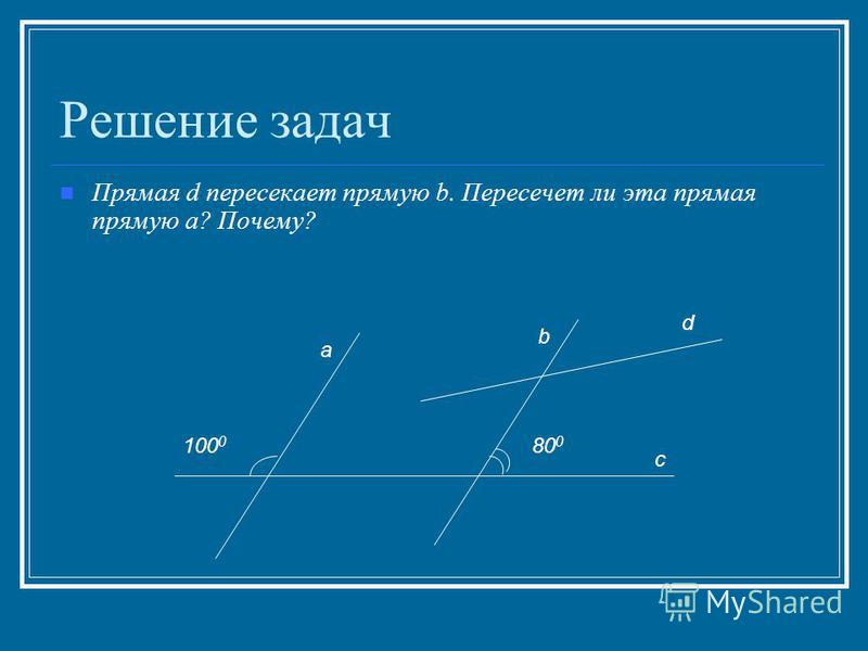 Решение задач Прямая d пересекает прямую b. Пересечет ли эта прямая прямую a? Почему? a d b c 80 0 100 0