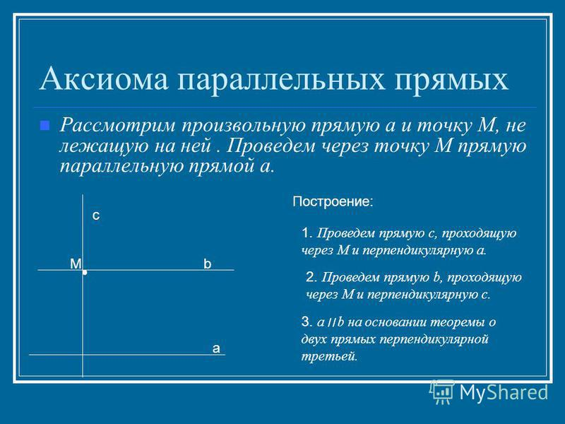 Аксиома параллельных прямых Рассмотрим произвольную прямую а и точку М, не лежащую на ней. Проведем через точку М прямую параллельную прямой а. а М Построение: 1. Проведем прямую с, проходящую через М и перпендикулярную а. 2. Проведем прямую b, прохо