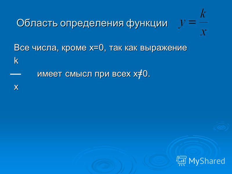 Область определения функции Все числа, кроме х=0, так как выражение k имеет смысл при всех х=0. х /