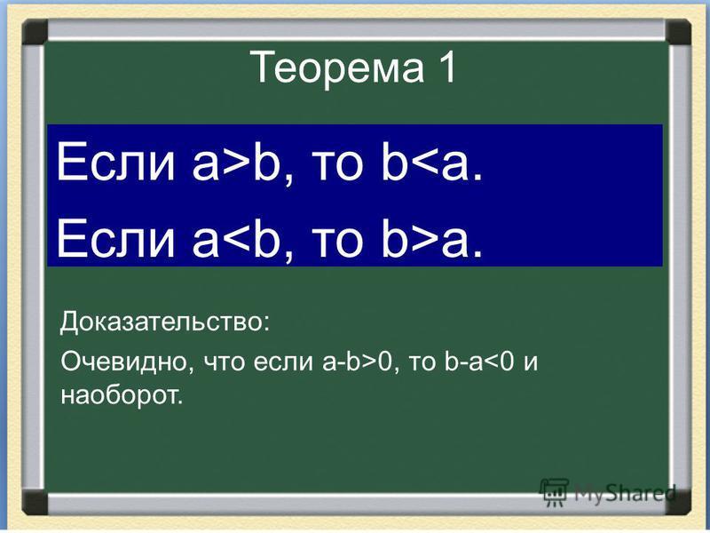 Теорема 1 Если а>b, то b<a. Если а a. Доказательство: Очевидно, что если a-b>0, то b-a<0 и наоборот.