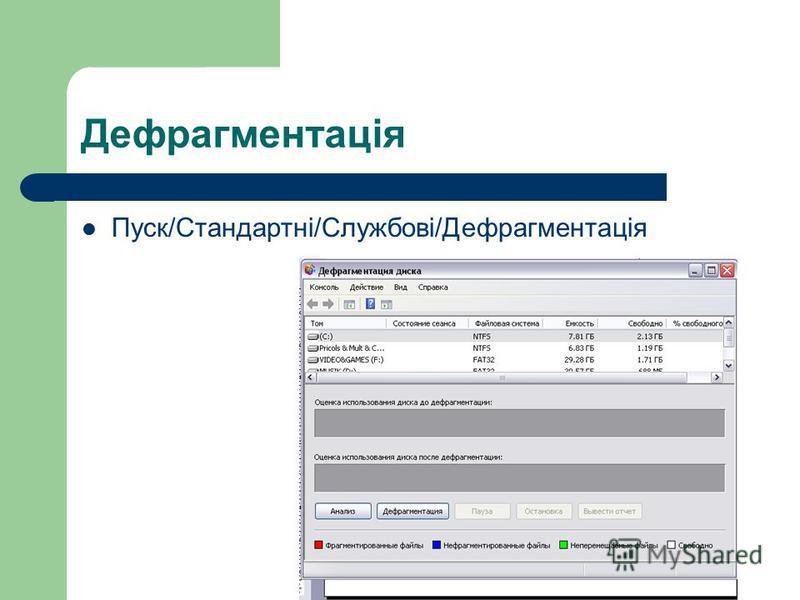Дефрагментація Пуск/Стандартні/Службові/Дефрагментація