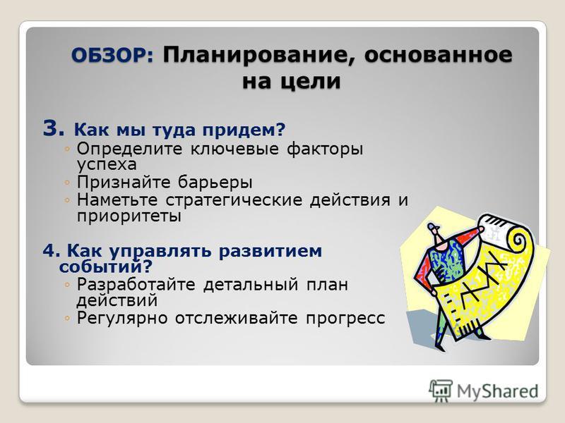 ОБЗОР: Планирование, основанное на цели 3. Как мы туда придем? Определите ключевые факторы успеха Признайте барьеры Наметьте стратегические действия и приоритеты 4. Как управлять развитием событий? Разработайте детальный план действий Регулярно отсле