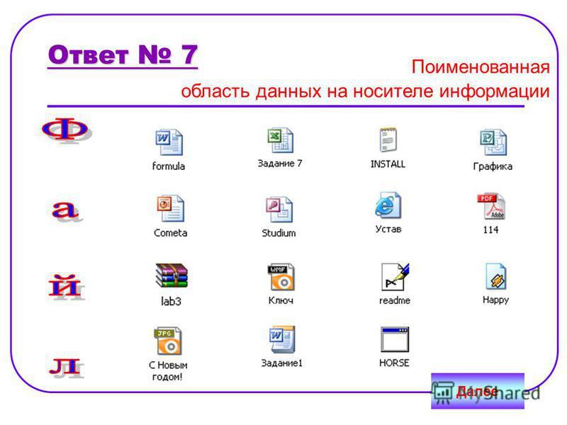 Ответ 7 Далее Поименованная область данных на носителе информации