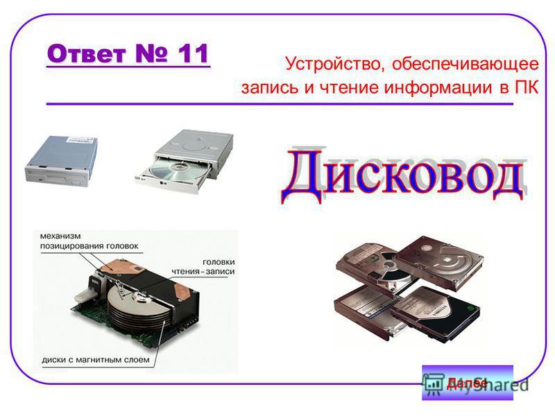 Ответ 11 Далее Устройство, обеспечивающее запись и чтение информации в ПК