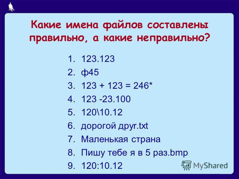 3 из 11 Какие имена файлов составлены правильно, а какие неправильно? 1.123.123 2.ф 45 3.123 + 123 = 246* 4.123 -23.100 5.120\10.12 6. дорогой дpyr.txt 7. Маленькая страна 8. Пишу тебе я в 5 раз.bmp 9.120:10.12