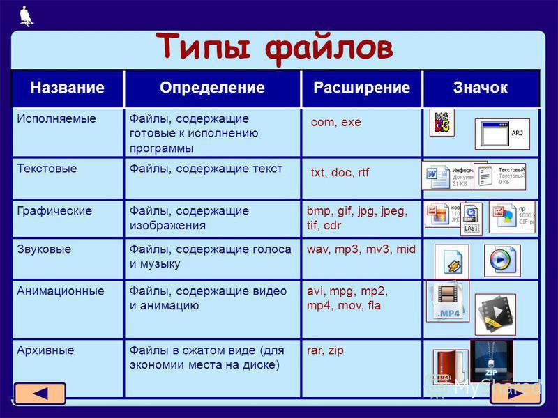 4 из 11 Типы файлов Название ОпределениеРасширение Значок Исполняемые Файлы, содержащие готовые к исполнению программы com, exe Текстовые Файлы, содержащие текст txt, doc, rtf Графические Файлы, содержащие изображения bmp, gif, jpg, jpeg, tif, cdr Зв