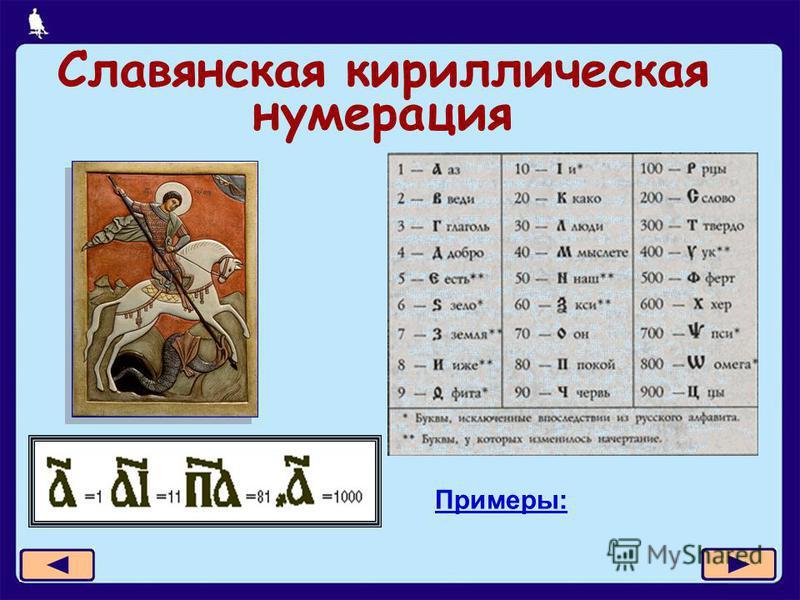 12 из 21 Славянская кириллическая нумерация Примеры: