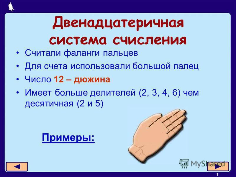 19 из 21 Двенадцатеричная система счисления Считали фаланги пальцев Для счета использовали большой палец Число 12 – дюжина Имеет больше делителей (2, 3, 4, 6) чем десятичная (2 и 5) Примеры:
