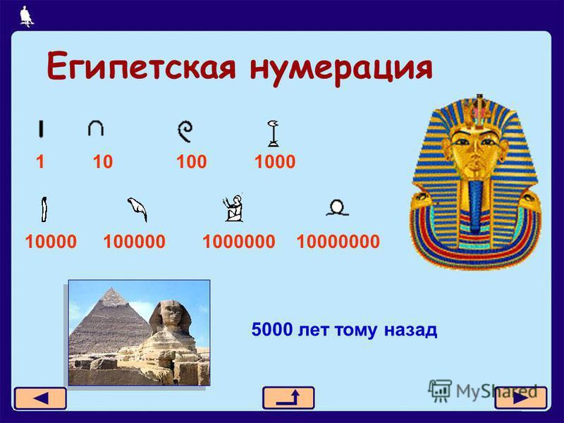9 из 21 Египетская нумерация 1 10 100 1000 10000 100000 1000000 10000000 5000 лет тому назад