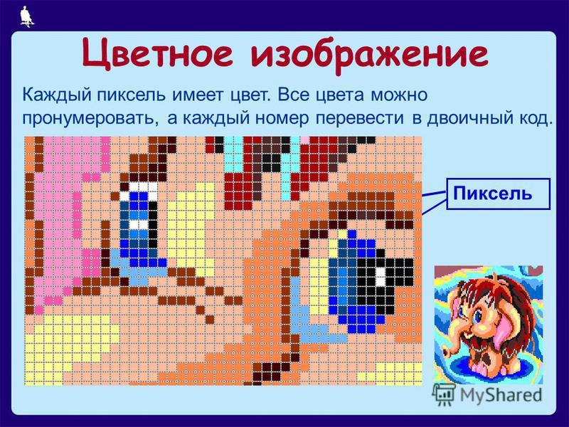 5 из 25 Пиксель Каждый пиксель имеет цвет. Все цвета можно пронумеровать, а каждый номер перевести в двоичный код. Цветное изображение