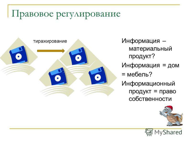 Правовое регулирование Информация – материальный продукт? Информация = дом = мебель? Информационный продукт = право собственности тиражирование