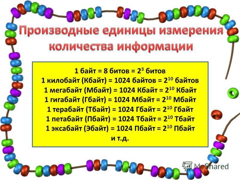 1 байт = 8 битов = 2 3 битов 1 килобайт (Кбайт) = 1024 байтов = 2 10 байтов 1 мегабайт (Мбайт) = 1024 Кбайт = 2 10 Кбайт 1 гигабайт (Гбайт) = 1024 Мбайт = 2 10 Мбайт 1 терабайт (Тбайт) = 1024 Гбайт = 2 10 Гбайт 1 петабайт (Пбайт) = 1024 Тбайт = 2 10