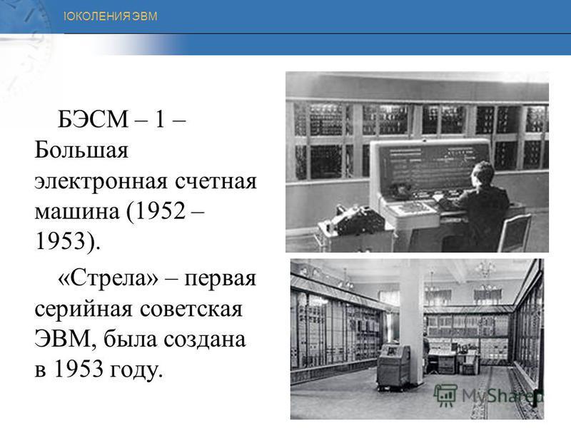 ПОКОЛЕНИЯ ЭВМ ПЕРВОЕ ПОКОЛЕНИЕ (1946-1960) Первые вычислительные машины были очень громоздкими и занимали целые залы