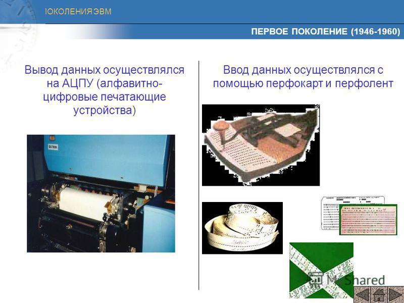ПОКОЛЕНИЯ ЭВМ Whirlwind Компьютер Whirlwind – первый цифровой компьютер, разработанный для работы в режиме реального времени (1949 – 1951). 3300 электронных ламп; 8999 кристаллических диодов; Занимал 256 кв.м; Имелось графическое устройство ввода-выв