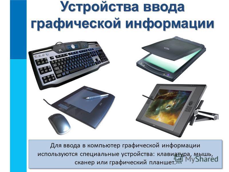 Устройства ввода графической информации Для ввода в компьютер графической информации используются специальные устройства: клавиатура, мышь, сканер или графический планшет.