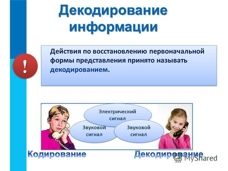 Действия по восстановлению первоначальной формы представления принято называть декодированием. Декодирование информации Звуковой сигнал Электрический сигнал Звуковой сигнал !!