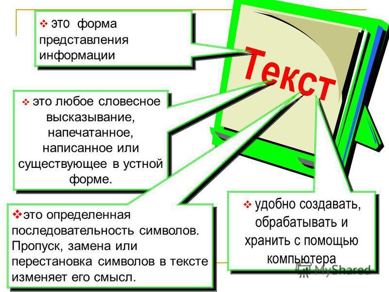 Текст это любое словесное высказывание, напечатанное, написанное или существующее в устной форме. это форма представления информации это определенная последовательность символов. Пропуск, замена или перестановка символов в тексте изменяет его смысл.