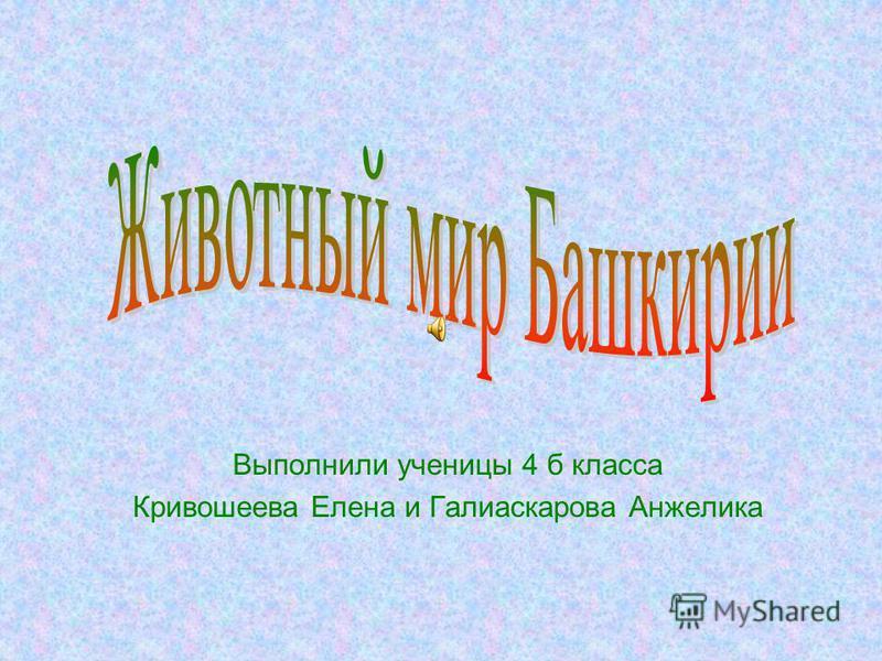 Выполнили ученицы 4 б класса Кривошеева Елена и Галиаскарова Анжелика