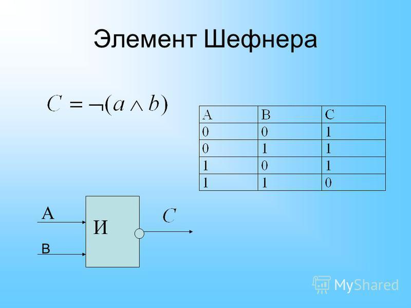 Элемент Шефнера И А В