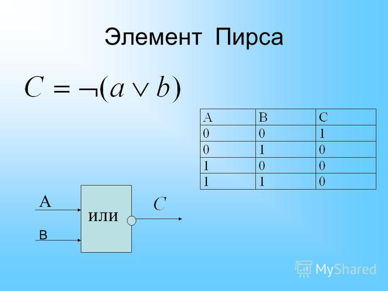 Элемент Пирса или А В