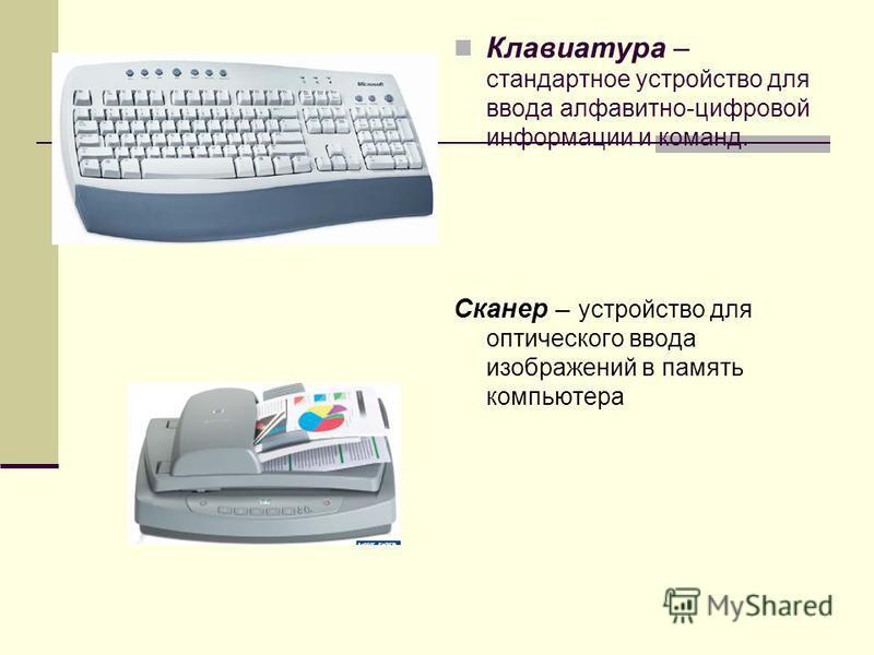 Клавиатура – стандартное устройство для ввода алфавитно-цифровой информации и команд. Сканер – устройство для оптического ввода изображений в память компьютера