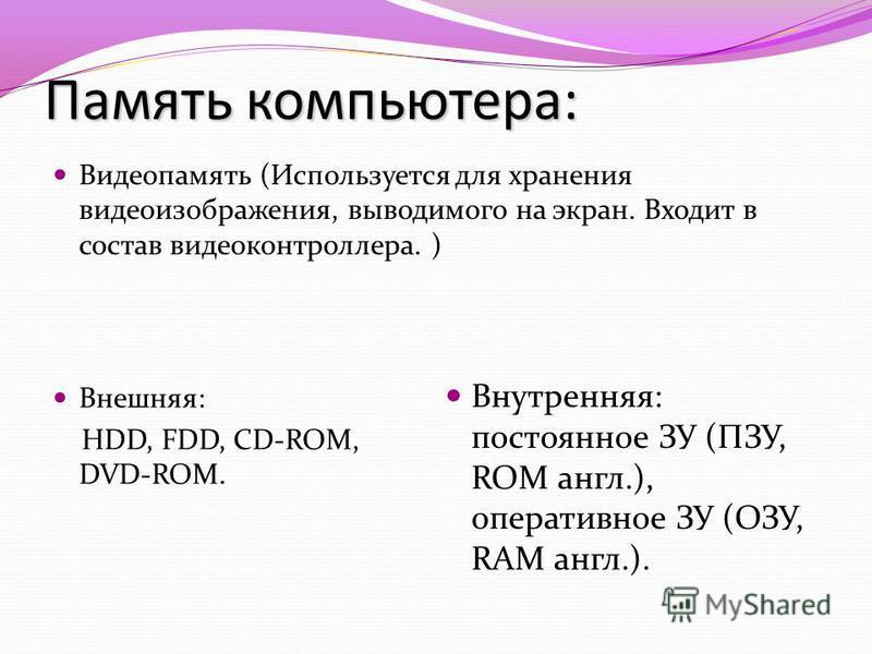 Память компьютера: Видеопамять (Используется для хранения видеоизображения, выводимого на экран. Входит в состав видеоконтроллера. ) Внешняя: HDD, FDD, CD-ROM, DVD-ROM. Внутренняя: постоянное ЗУ (ПЗУ, ROM англ.), оперативное ЗУ (ОЗУ, RAM англ.).