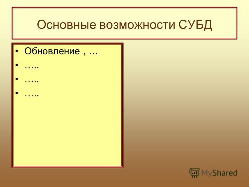 Основные возможности СУБД Обновление, … …..
