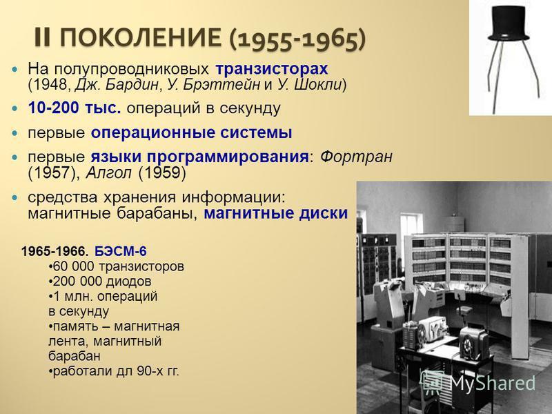 II ПОКОЛЕНИЕ (1955-1965) На полупроводниковых транзисторах (1948, Дж. Бардин, У. Брэттейн и У. Шокли) 10-200 тыс. операций в секунду первые операционные системы первые языки программирования: Фортран (1957), Алгол (1959) средства хранения информации: