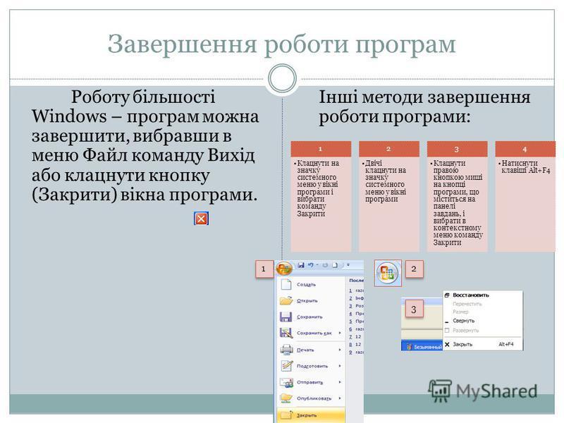 Завершення роботи програм Роботу більшості Windows – програм можна завершити, вибравши в меню Файл команду Вихід або клацнути кнопку (Закрити) вікна програми. Інші методи завершення роботи програми: 1 Клацнути на значку системного меню у вікні програ
