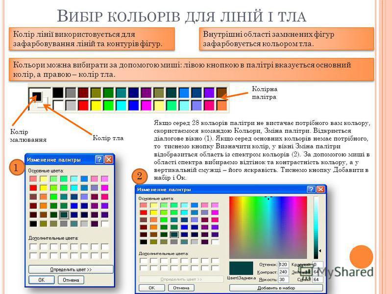 В ИБІР КОЛЬОРІВ ДЛЯ ЛІНІЙ І ТЛА Колір лінії використовується для зафарбовування ліній та контурів фігур. Внутрішні області замкнених фігур зафарбовується кольором тла. Кольори можна вибирати за допомогою миші: лівою кнопкою в палітрі вказується основ