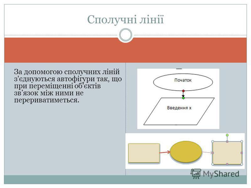 За допомогою сполучних ліній з'єднуються автофігури так, що при переміщенні об'єктів звязок між ними не перериватиметься. Сполучні лінії