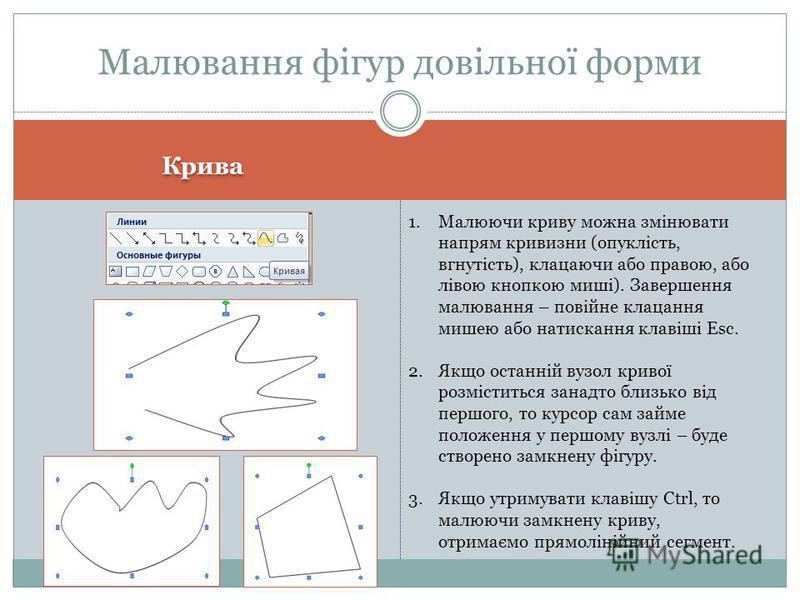 Крива Малювання фігур довільної форми 1.Малюючи криву можна змінювати напрям кривизни (опуклість, вгнутість), клацаючи або правою, або лівою кнопкою миші). Завершення малювання – повійне клацання мишею або натискання клавіші Esc. 2.Якщо останній вузо