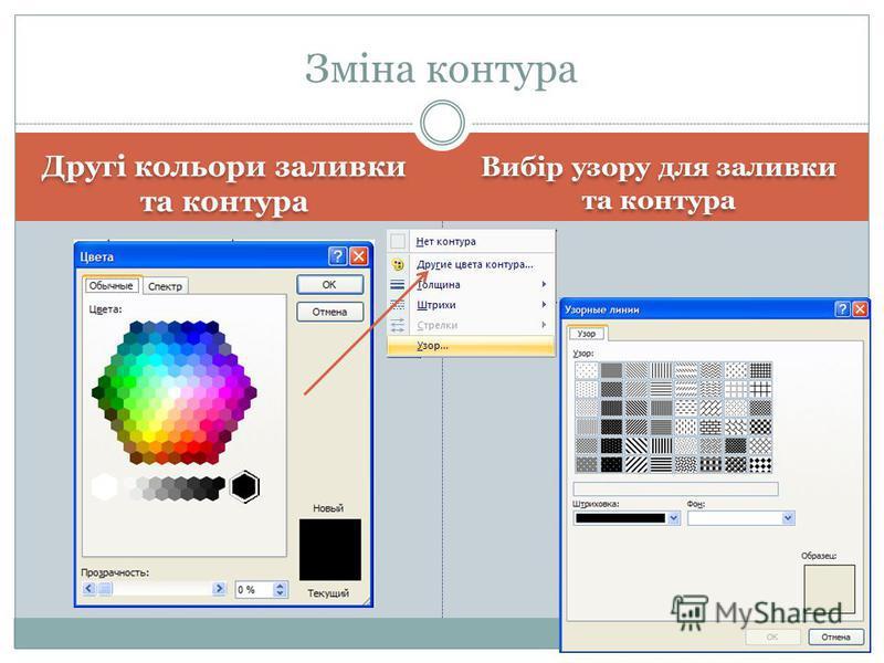Другі кольори заливки та контура Вибір узору для заливки та контура Зміна контура