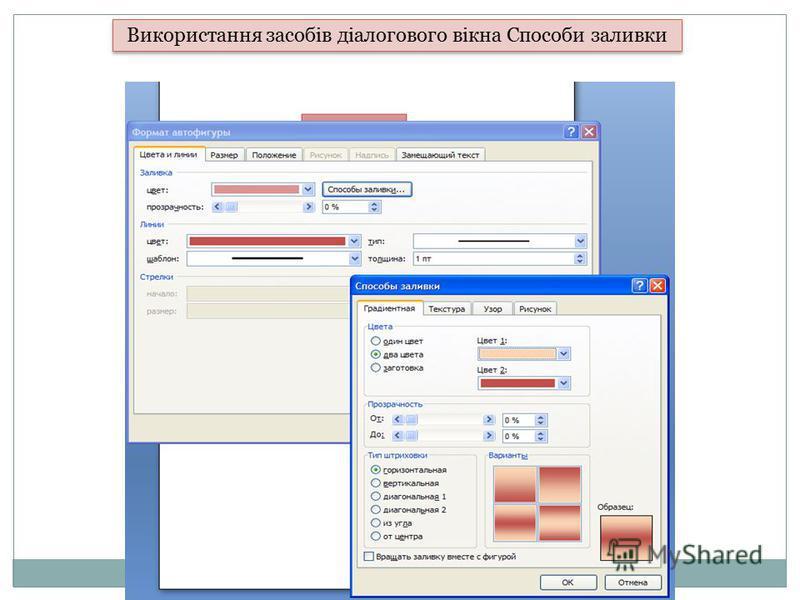 Використання засобів діалогового вікна Способи заливки