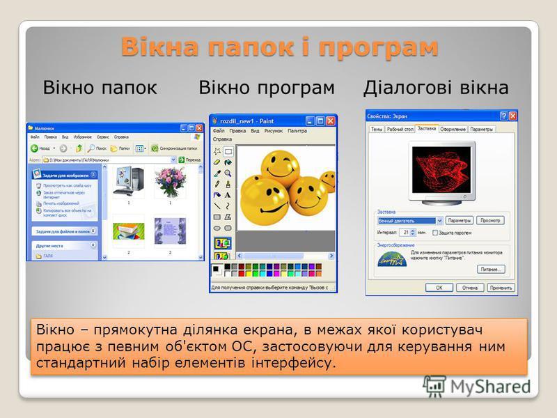 Вікна папок і програм Вікно папокВікно програм Вікно – прямокутна ділянка екрана, в межах якої користувач працює з певним об'єктом ОС, застосовуючи для керування ним стандартний набір елементів інтерфейсу. Діалогові вікна