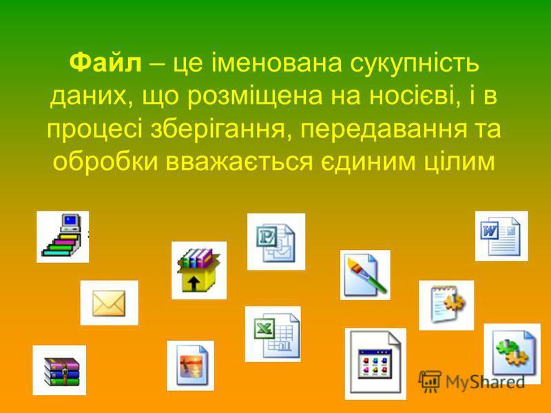 Файл – це іменована сукупність даних, що розміщена на носієві, і в процесі зберігання, передавання та обробки вважається єдиним цілим