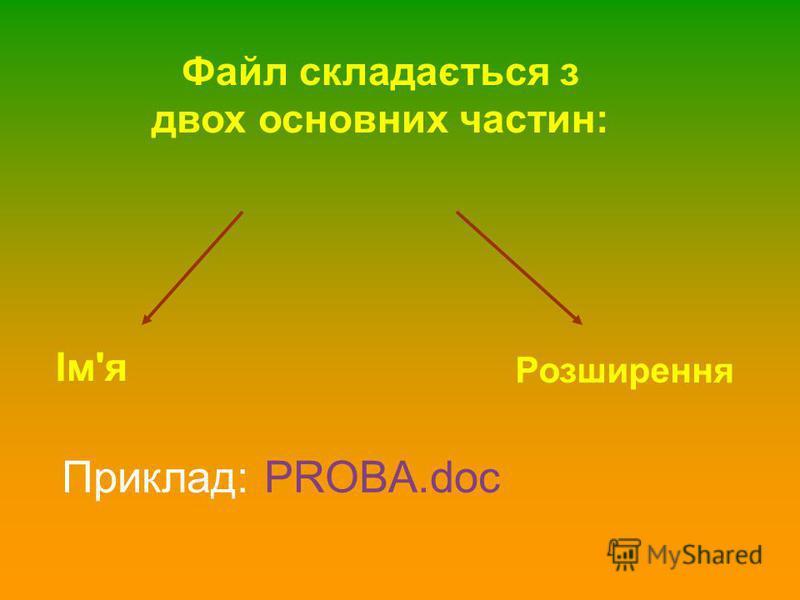 Файл складається з двох основних частин: Ім'я Розширення Приклад: PROBA.doc