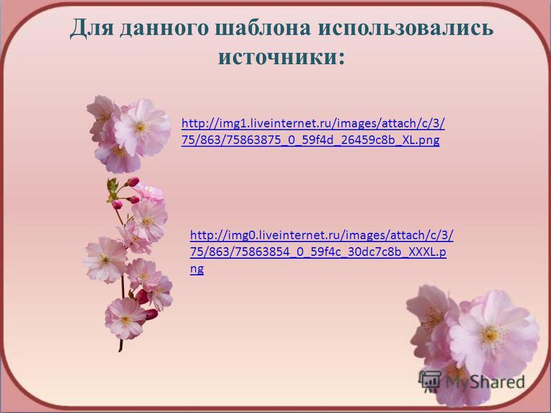 Для данного шаблона использовались источники: http://img1.liveinternet.ru/images/attach/c/3/ 75/863/75863875_0_59f4d_26459c8b_XL.png http://img0.liveinternet.ru/images/attach/c/3/ 75/863/75863854_0_59f4c_30dc7c8b_XXXL.p ng