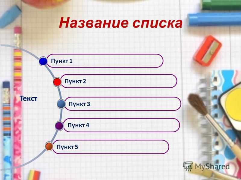 Название списка Пункт 5 Пункт 4 Пункт 3 Пункт 2 Пункт 1 Текст