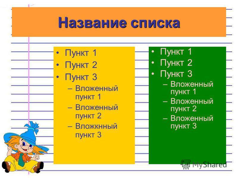 Пункт 1 Пункт 2 Пункт 3 –Вложенный пункт 1 –Вложенный пункт 2 –Вложенный пункт 3 Пункт 1 Пункт 2 Пункт 3 –Вложенный пункт 1 –Вложенный пункт 2 –Вложкнный пункт 3 Название списка
